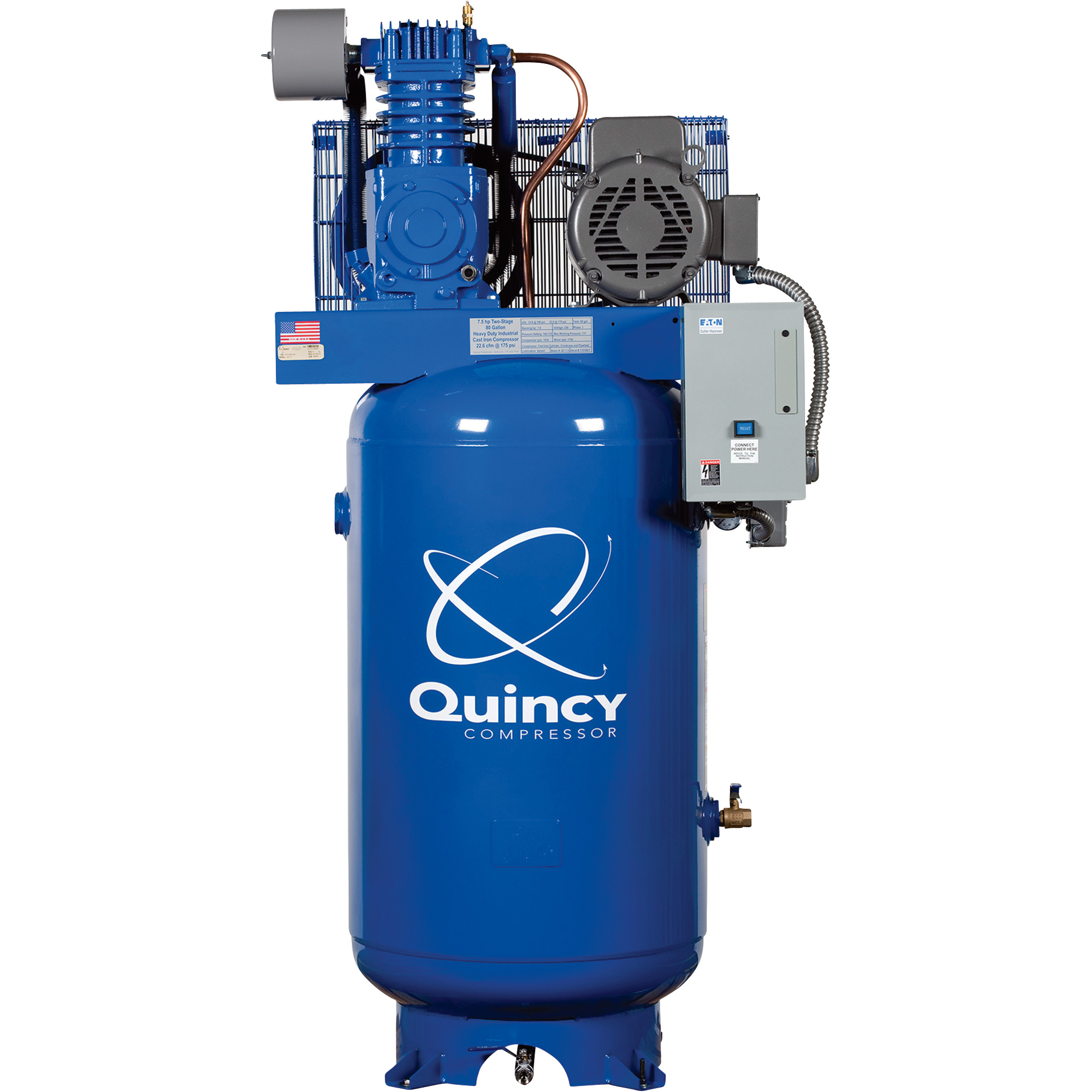 Quincy stationary engine driven pressure lube pro qp 5 5hp for 5hp air compressor motor starter