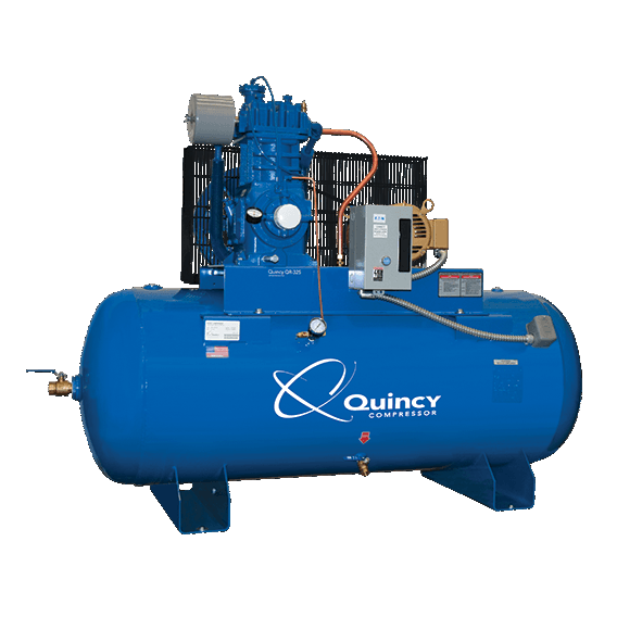 Quincy 5HP QT-5 Stationary Electric Splash Lube Simplex 80gal Horiz