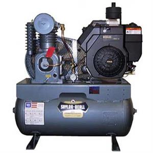 Saylor-Beall 18HP 2 Stage Pressure Lube Gas Engine Air Compressor 707 Pump 60Gal Horiz